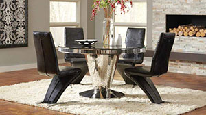 Modern Round Dining Set With Black Chairs