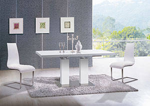 White Contemporary Dining Set