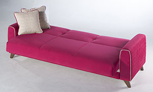 Pink fabric sofa bed